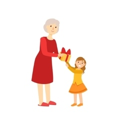 Grandmother giving present to granddaughter part vector
