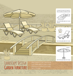 Lounge chairs under patio umbrella bridge and vector