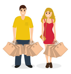 Woman and man on a shopping sale with purchases vector