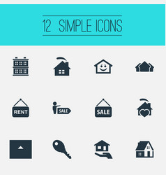 Set of simple property icons vector