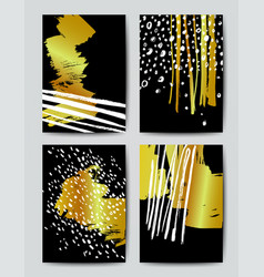 Brush grunge gold templates vector