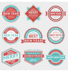 Set badges for christmas cards vector