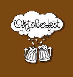 Handwritten text oktoberfest beer mug and froth vector