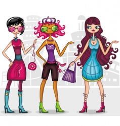 Urban fashion girls series vector