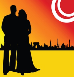 couple wedding and of city vector image