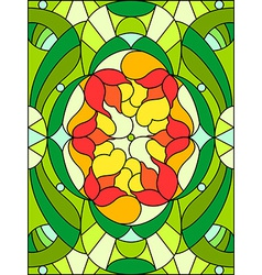 Stained glass window floral pattern composition of vector