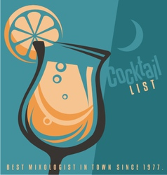 Cocktail list cover document template vector