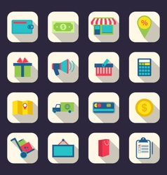 Flat icons of e-commerce shopping symbol online vector
