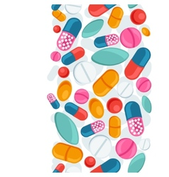 Medical seamless pattern with pills and capsules vector
