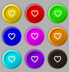 Medical heart love icon sign symbol on nine round vector