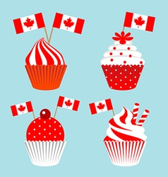 Cup cake for celebrate the national day of canada vector