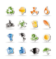 Simple ecology and recycling icons vector