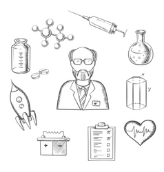 Scientist and science research sketch icons vector
