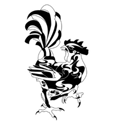 Vintage black rooster isolated vector image
