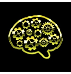 Golden chrome brain with gears think design over vector