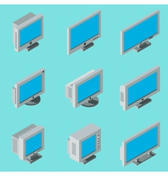 Desktop computer monitor icons vector image