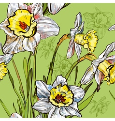 Seamless daffodil sketch design pattern vector
