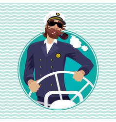 Sea captain in round water frame with ships vector image