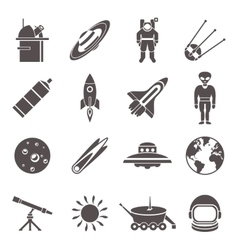 Space black icon set vector