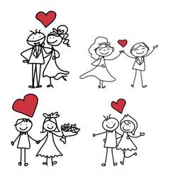 cartoon character happiness wedding vector image vector image