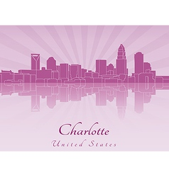 Charlotte skyline in purple radiant orchid vector