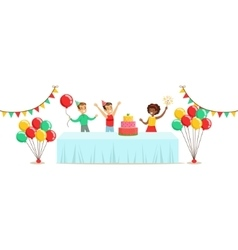 Children with the decorated table kids birthday vector