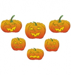 collection of six jack lanterns vector image vector image