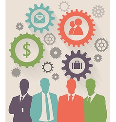 Color Silhouettes of Businessman gear concept vector image vector image