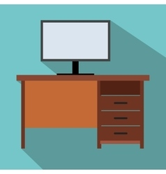 Computer desk flat icon vector