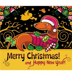 dachshund Christmas card vector image vector image