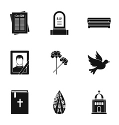 Death icons set simple style vector