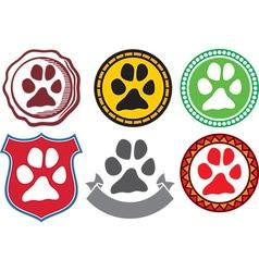Dog paw emblem vector image vector image