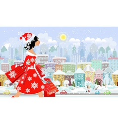 fashion girl santa with purchase in a city vector image