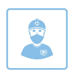 Football fan with covered face by scarf icon vector