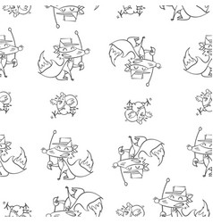 Fox and chick hand draw pattern vector