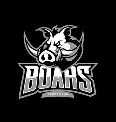 Furious boar sport club logo concept vector