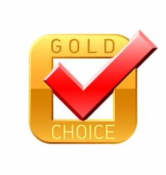 gold choice tick vector image vector image