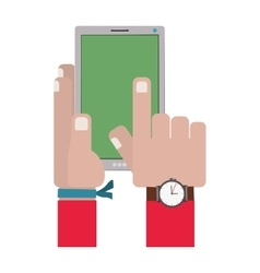 hands touching a smartphone screen vector image