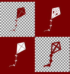 Kite sign bordo and white icons and line vector