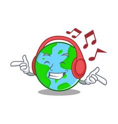 Listening music world globe character cartoon vector
