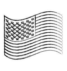 Monochrome sketch of waving flag of the united vector