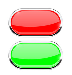 oval buttons red and green with chrome frame vector image