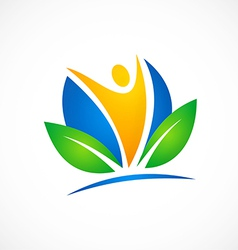 people ecology health fitness logo vector image