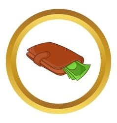 Purse with money icon vector