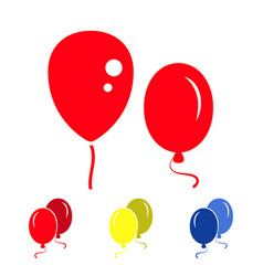 red party balloon icons isolated on white vector image vector image