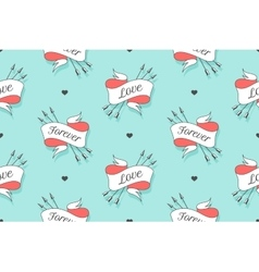 Seamless pattern with hearts and arrows on a vector image vector image