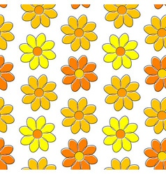 Seamless pattern with yellow camomiles vector