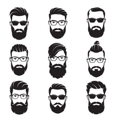Set of bearded men faces hipsters vector
