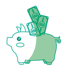 Silhouette cute pig to save cash money vector