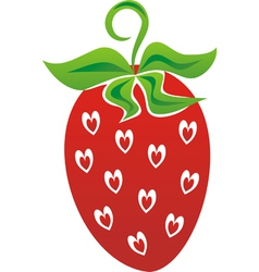 Strawberry love heart vector image